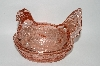 "**MBA #59-103  "" Vintage Dark  Pink Glass Chicken Candy Dish"