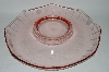 **Vintage Soft Pink Depression Glass Round Floral Etched Serving Dish