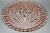 "**Vintage Pink Depression Glass ""Windsor Diamond"" Large Round Platter"