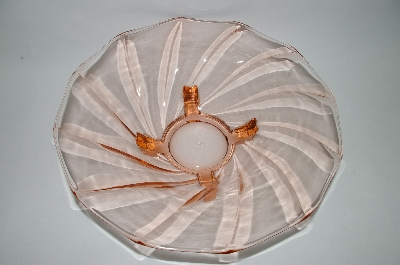 **MBA #59-195  Vintage Pink Glass Large Footed Depression Glass Serving Bowl