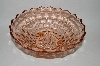 "**MBA #59-036  "" Large Diamond Cut Footed Pink Depression Glass Bowl"