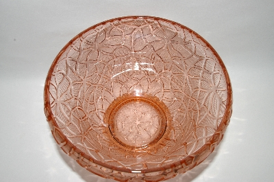 ** MBA #59-045  Vintage Pink Depression Glass Mosiac Pattern Serving Bowl