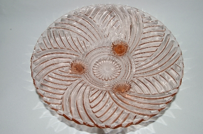 ** Vintage Pink Depression Glass Fancy Footed Serving Dish