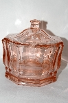 "**MBA #59-012  "" Fancy Vintage Pink Depression Glass Lidded Candy Dish"