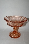 +MBA #59-049  Vintage Pink Depression Glass Tall Candy Dish