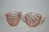 "**MBA #59-005  "" Vintage Diamond Cut Pink Depression Glass Cream & Sugar Bowl Set"