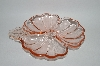 +MBA #59-084  Vintage Doric Pink Depression Glass 3 Part Cloverleaf Candy Dish
