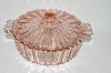 **Vintage Light Pink Depression Glass Candy Dish With Lid