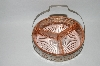 +MBA #59-052  1930's  Vintage Pink Depression Glass Divided Dish With Metal Basket Carrier