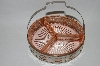 +MBA #69-056  Vintage Pink Depression Glass Divided Dish With Metal Basket Carrier