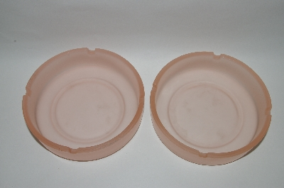 "**MBA #59-107  "" Set Of Two Vintage Pink Frosted Glass Ashtrays"