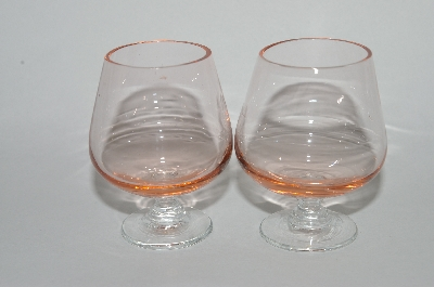 "**MBA #60-017   "" Pair Of Mini Pink Glass ""Snifter Look"" Shot Glass's"