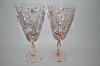 """SOLD"" MBA #60-028  "" Pair Of Depression Pink Glass Floral Etched Wine Glass's"