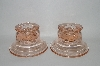 "**MBA #60-319  "" Pair Of Vintage Pink Glass Candle Stick Holders"