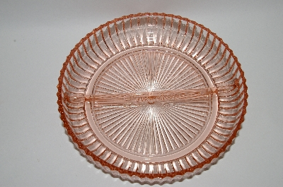 **Vintage Pink Glass Round Divided Dish
