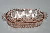 "** Vintage Pink Glass ""Old Cafe""  Oval Shaped Fancy Handled Snack Dish"