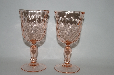 **Pair Of Pink Vintage Glass Arcoroc Rosaline Wine Glass's