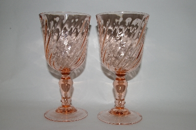 **Set Of 6 Pink Vintage Arcoroc Rosaline Large Wine Glass's