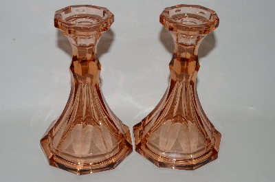 "**MBA #60-125  "" Set Of Two Vintage Dark Pink Glass Candle Stick Holders"