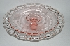 "+MBA #60-163  Vintage Pink Glass ""Jubilee"" 1930's Cake Plate"