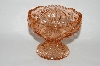 +MBA #60-215  Vintage Pink Glass Fancy Cut Candy Dish