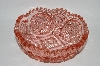 +MBA #60-147  Vintage Pink Glass Very Fancy Cut Round Candy Dish