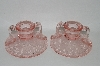 "**MBA #60-207   ""Elegant Vintage Pink Glass Two Handled Set Of Candle Stick Holders"