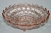"** Vintage Pink Depression Glass  3 Footed ""Cube"" Fruit Bowl"