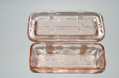 **Reproduction? Pink Glass Two Piece Butter Dish