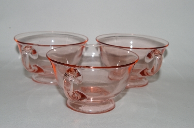 "**MBA #60-159   "" Set Of 3  Vintage Pink Depression Glass Coffee/Tea Cups"