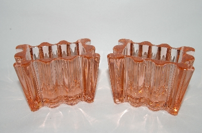 **Pair Of Vintage Pink Glass Square Containers?