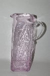 "**MBA #60-088   "" Beautiful Newer Art Glass Hand Made Pink Tall Water Pitcher"