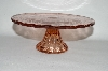 "**MBA #57-139   ""Reproduction Small Pink Glass Pedestaled Cake Salver"