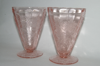 "**MBA #61-174   Set Of Two Vintage Pink Depression Glass ""Floral Poinsettia"" 7oz Tumblers"