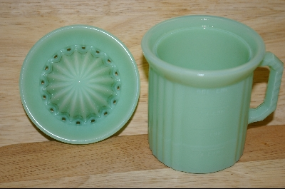 **Reproduction Pale Green Milk Glass Cup W/ Reamer Top #4791