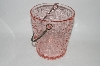 "**MBA #61-014   "" Vintage Pink Depression Glass ""Wood"" Look Ice Bucket"