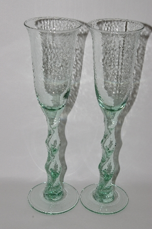 "**MBA #61-178   ""2003 Riekes Spanish Green Glass Set Of 2 Tall Hammer Finished Champagne Glass's"""
