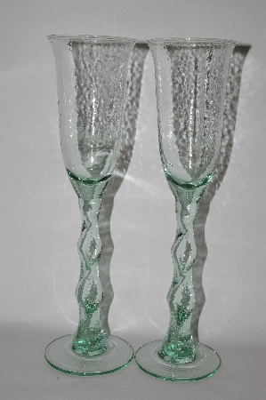"**MBA #61-178    Set Of ""2"" Very Tall Green Glass Wine Goblets"