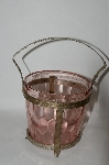 **MBA #61-100  Vintage Pink Depression Glass Ice Bucket With Holder