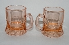 "**Vintage Pink Depression Glass ""Shot Glass's"" Beer Mug Style Set Of 6"