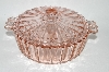 +MBA #61-036  Vintage Pink Depression Glass Candy Dish With Lid