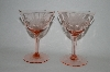 "** Set Of 6 Vintage Pink Depression ""Floral Etched"" Wine Glass's Set Of 6"