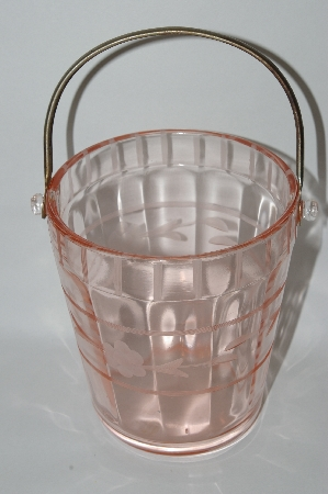 **Vintage Pink Depression Glass Floral Etched Ice Bucket With Handle
