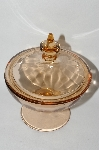 **MBA #61-120  Vintage Pink Depression Glass Short Candy Dish With Lid