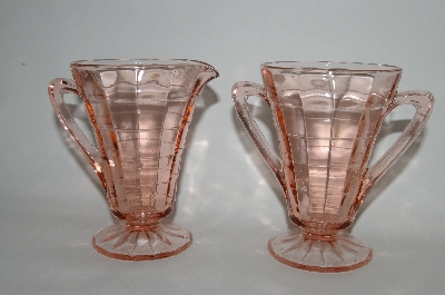 ** Vintage Pink Depression Glass Cream & Sugar Set