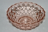 "**Vintage Pink Depression Glass ""Cube"" Small Fruit Bowl"