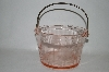 "**MBA #61-040  "" Large Pink Depression Glass Fancy Floral Etched Ice Bucket"