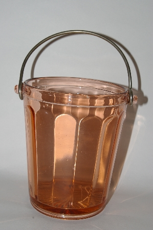 "**MBA #61-077  "" Vintage Dark Pink Depression Glass Ice Bucket"