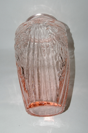**Jumbo Vintage Pink Glass Fancy Floral Vase