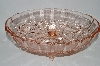 "**MBA #61-037  "" Large Vintage Pink Glass Fruit Patterned ""Footed Fruit Bowl"